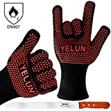 YELUN BBQ Grill Gloves - 932°F Extreme Heat Resistant Oven Mitts with 100% Cotton Lining - EN407 Certified Protective Grill Gloves, Barbecue