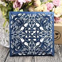 CYSKY Kit de tarjetas de invitaciones de boda con corte láser, papel imprimible en blanco y sobres para bodas, baby shower azul marino 50 piezas