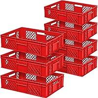 7x Eurobehälter durchbrochen/Stapelkorb, lebensmittelecht, Industriequalität, LxBxH 600 x 400 x 150 mm, 27 Liter, rot