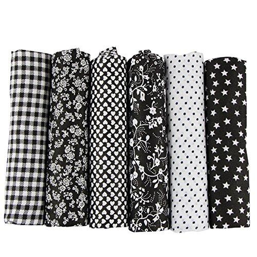 UOOOM 6 Stueck 50 x 50cm Stoffpakete Patchwork Stoffe Baumwolle tuch DIY Handgefertigte Nähen Quilten Stoff Baumwollgewebe Verschiedene Designs (schwarz) -