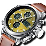 Mens Big Face Military Analogue Digital Sports Watches Men Waterproof Alarm LED Digital Watches with Stopwatch Men's Multifunction Casual Wrist Watch with Black Dial (Brown Green)