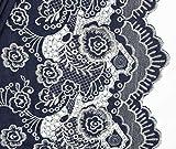 0,5m Leichter Jeansstoff Stickbordüre - dunkelblau