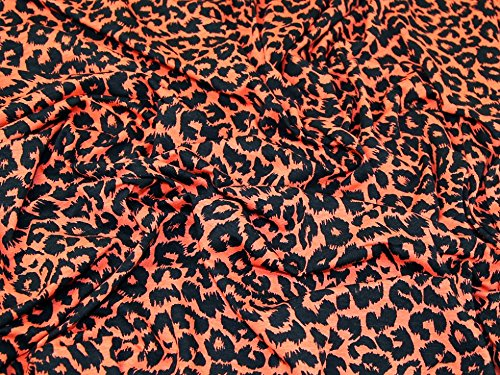 Animal Print Viskose Stretch Jersey Knit Kleid Stoff schwarz &, orange, Meterware (Jersey Animal-print)