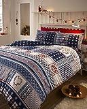 Bettwäsche-Set & Kissenbezüge - weihnachtlich - UK-Einzelbett - Nordisches Muster - Mehrfarbig