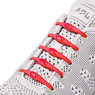 New HICKIES 2.0 Performance One-Size Fits All No Tie Elastic Shoelaces (14 HICKIES Shoelaces, Works in all shoes) Red Size: One size
