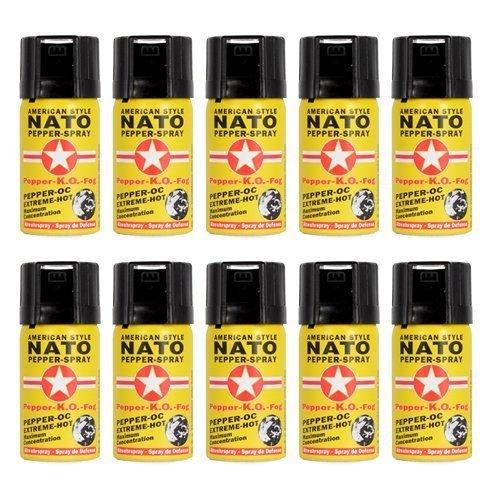 Pfefferspray NATO 40ml Extreme Pepperspray Abwehrspray Direktspray 10 Stück im Set