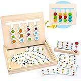 Symiu Juguetes Montessori Tablero Juego de Madera Puzzles Infantiles con Tarjetas de Patrón y Disco de Color Juguete De Rompe