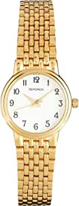 Sekonda Women's Quartz Watch with White Dial Analogue Display and Gold Stainless Steel Bracelet 4090.27