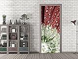 GRAZDesign 791136_92x213 Tür-Tapete Blume mit Wassertropfen | Aufkleber Fürs Wohnzimmer | Türfolie Selbstklebend (92x213cm//Cuttermesser)