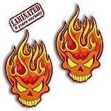 2 Stück Vinyl Aufkleber Autoaufkleber Skull Schädel Totenkopf Flammen Feuer Horror Stickers Auto Moto Motorrad Fahrrad Helm Fenster Tür Tuning B 114