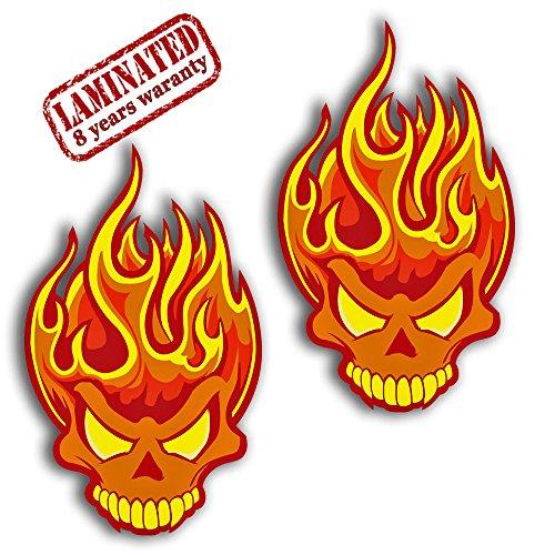 2 Stück Vinyl Aufkleber Autoaufkleber Skull Schädel Totenkopf Flammen Feuer Horror Stickers Auto Moto Motorrad Fahrrad Helm Fenster Tür Tuning B 378