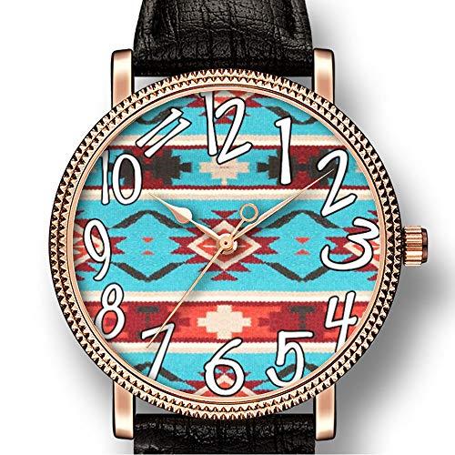 Personality Art Herren Armbanduhr Goldton Quarz Leder Casual Watch 352.Tribal Western,Native Muster Print 8