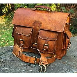 16″Pollici Classic Vintage per adulti Unisex Cross Shoulder 100% in vera pelle Messenger Laptop Sacchetto della cartella Satchel Brown