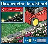WENKO fluoreszierende Rasensteine Set 15-tlg. - Leuchtsteine - Beeteinfassung