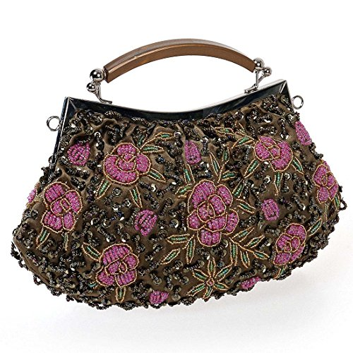 BMC Damen Winzig Perlen Verkrustete Pink Blumenmuster Clutch Abendtasche Dreist Bronze
