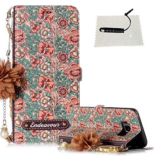 TOCASO Leder Wallet Case Galaxy S8 Hülle WalletEtui Brieftasche Ultra Slim Handyhülle Schale Klapphülle Standfunktion Karte Halter - Impatiens