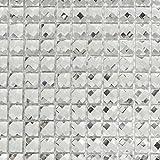 Mosaik Fliese Transluzent kristall Glasmosaik Crystal Glitzer weiß für WAND BAD WC DUSCHE KÜCHE FLIESENSPIEGEL THEKENVERKLEIDUNG BADEWANNENVERKLEIDUNG Mosaikmatte Mosaikplatte