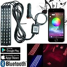 autokraze LED coche luz Interior, LED iluminación de coche Kits 4pcs LED tira luces por App Bluetooh para iphone Android