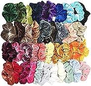 Fankle 40 Pcs Hair Scrunchies Velvet Elastic Hair Bands Hair Ties Ropes Scrunchie for Women or Girls Hair Accessories - 40 A