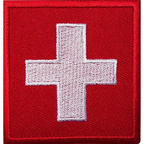 Aufnäher bestickt mit Schweizer Flagge, bügeln / nähen auf Kleidung, schweizerisches Abzeichen für Jacke, Tasche