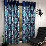 #3: Home Sizzler 2 Piece multi Frill Window Curtains - 5 Feet, Blue