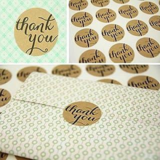 AUAUDATE 3.5cm THANK YOU Kraft Seal Sticker Label for Wedding Favor/Envelope/Card (36pcs)