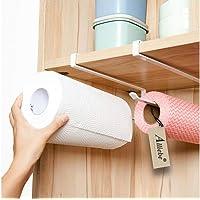 Alliebe 2 pcs Distributeur de papier essuie-tout sous armoire support pour rouleau de papier sans perçage pour cuisine…
