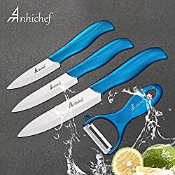 """Anhichef Coffret de 4 Couteaux en céramique avec étui de protection- 5""""couteau universel 4""""couteau de fruit 3""""couteau à éplucher avec éplucheur pour légume et fruit blanc"""