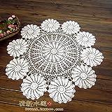 BLUELSS Neue Ankunft Baumwolle Tischdecke mit Blumen häkeln runde Tischdecke Ausschnitt aus Gewirken Tischläufer table mat Tischdecke, weiß, 100 cm