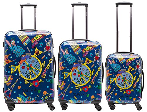 Packenger One World by Della 3er-Koffer, Trolley, Hartschale set in Blau, Größe M, L und XL