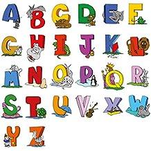 Adesivi per pareti educativi animali alfabeto inglese Lettere - Set adorabile di 26 Lettera decalcomanie per decorare le pareti in vivaio e per bambini Camere - attraente e divertente strumento di apprendimento per Creative bambini piccoli