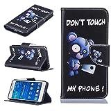 Coque Samsung Galaxy Grand Prime,Slynmax Housse en PU Cuir Ours bleu Motif Peint Mode...