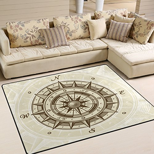 coosun Vintage Kompass Bereich Teppich Teppich rutschfeste Fußmatte Fußmatten für Wohnzimmer Schlafzimmer 203,2x 147,3cm, Textil, multi, 80 x 58 inch
