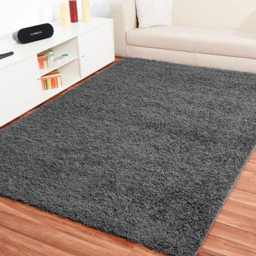 Preisvergleich Produktbild Shaggy Hochflor Teppich Fluffy Grau - versandkostenfrei schadstoffgeprüft pflegeleichtstrapazierfähig Wohnzimmer Schlafzimmer Kinderzimmer Flur, Größe Auswählen:120 x 170 cm