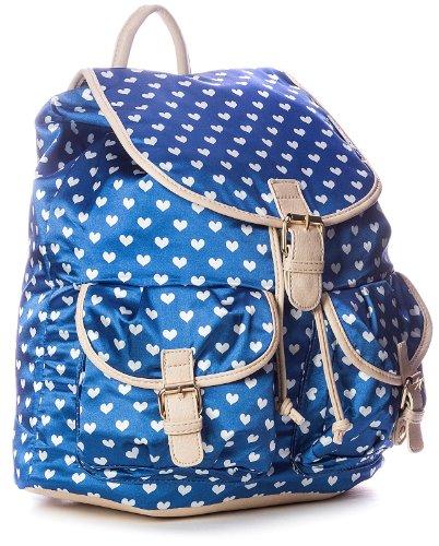 Big Handbag Shop großer Damen Rucksack mit Herzaufdruck Dunkelblau