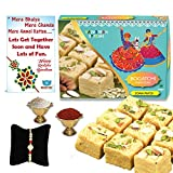 #5: BOGATCHI Soan Papdi Rakhi Gift Complete Hamper, Rakhi Combo Gift, Rakhi Gift for Brother, Rakhi Sweets for Brother,450g + Free Rakhi Greeting Card + Free Rakhi + Roli Chawal