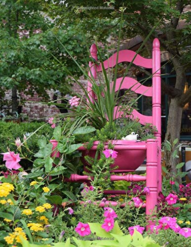 Pink Chair in Blowing Rock: A pink chair or rather a wooden chair painted pink and being used as a planter in a public garden in Blowing, Rock, NC.