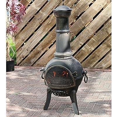 Azuma Elda Cast Iron Chiminea Fire Pit Iron Garden Patio Heater Charcoal Log Burner Outdoor Legs Poker Grate Chimney from XS-Stcok.com Ltd