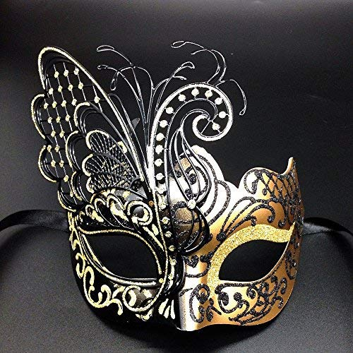 fly] Gold / Schwarzes Gesicht mit [Sparkling Wing] Laser Cut Metall venezianischen Frauen-Maske für Maskerade / Party / Ball Prom / Mardi Gras / Hochzeit / Wanddekoration ()