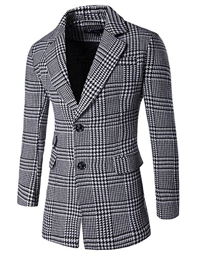 Aiffer Herren Plaid Revers Mischung Jacke Anzug Zwei Schaltflächen Mode Beiläufig Schlank Passen Erbse Mäntel Business Anzug Blazer . (Breasted Double-taste Single)