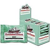 Fisherman's Friend Mint   Karton mit 24 Beuteln   Minze und Menthol Geschmack   Mit Zucker   Für frischen Atem
