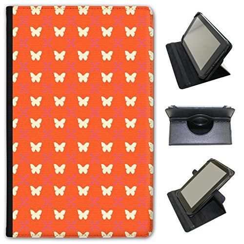 Farfalle, cerchi e fiori in pelle sintetica con funzione di supporto per Lenovo Tablet nero Stunning Butterfly On Orange Lenovo Tab 3 8 inch
