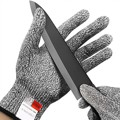 Fesjoy Anti-Schnitt-Handschuhe 5-Grad-Sicherheits-Schnittschutz-Schnittschutzhandschuhe aus rostfreiem Stahl mit Metallgitter für die Küche von Metzgerei