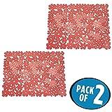 mDesign tapete protector para la pila - Alfombrilla fregadero de cocina - Protector fregadero color rojo - Pack de 2 unidades