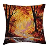tgyew Country Throw Pillow Cushion Cover, Paint of a Forest with Autumn Color Leaves Fall Time Sadness Season Theme Art, Decorative Square Accent Pillow Case, 18 X 18 inches, Orange Brown