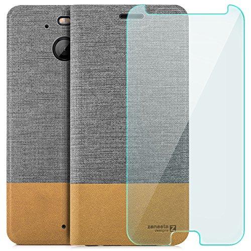 zanasta Designs Tasche HTC 10 Evo Hülle + Panzerfolie Flip Case Slim Schutzhülle Handytasche mit Kartenfach, Standfunktion Grau