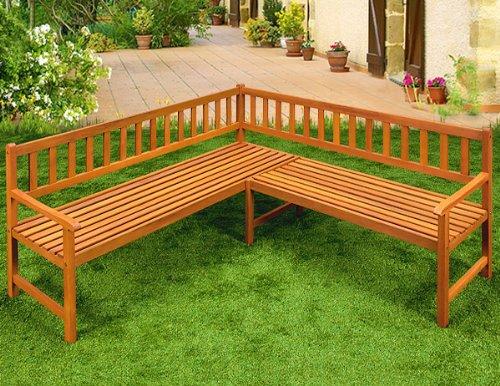 Holz Eckbank Gartenbank Holzbank Sitzbank Bank Gartenmöbel Parkbank Sitzgarnitur ✔FSC®-zertifiziertes Eukalyptusholz ✔ergonomisch ✔witterungsbeständig ✔145 cm x 145 cm x 90 cm
