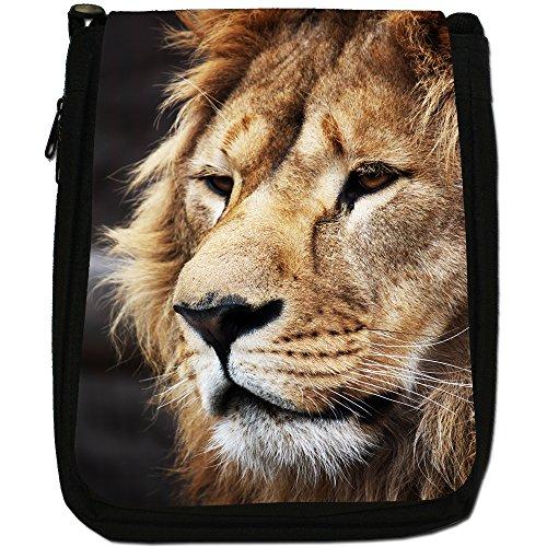 African Lion Big Cat Medium Nero Borsa In Tela, taglia M Lion Face