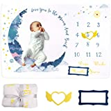 Xiangmall Manta Mensual Bebe Franela Manta de Hito Fondo de Fotografía con Marco para Recién Nacido Niños Niñas Baby Shower R