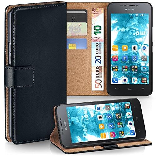 moex Huawei G630 | Hülle Schwarz mit Karten-Fach 360° Book Klapp-Hülle Handytasche Kunst-Leder Handyhülle für Huawei Ascend G630 Case Flip Cover Schutzhülle Tasche